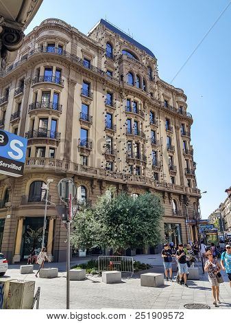 Barcelona, Spain - July 17, 2018: Facade Of The Ohla Hotel Barcelona Decorated With Work