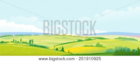 Big Panorama Of Fields And Meadows, Summer Countryside With Green Hills, Rural Landscape, Summer Sun
