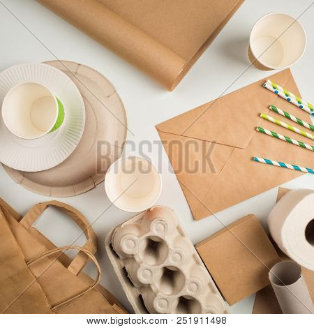 Wastepaper And Products Made From Recycled Paper: Disposable Tableware, Package, Box, Cardboard, Egg