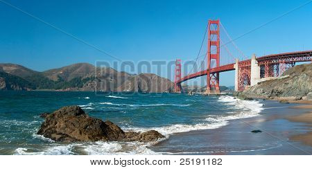 The Golden Gate Bridge In San Francisco With Rocks Panorama