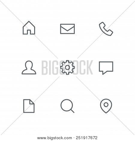 Basic Outline Icon Set - Home, Mail, Telephone, Person, Gear Wheel, Chat, File, Search And Address P