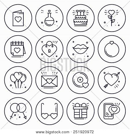 Love Line Icons Concept Set. Happy Valentine Day Signs And Symbols. Love, Couple, Relationship, Dati