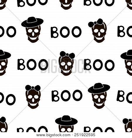 Seamless Pattern With Black Skulls And Words Boo On The White Background. Vector Illustration