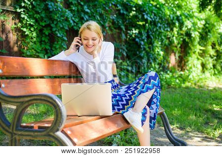 Girl Sit Bench With Notebook Call Phone. Save Your Time With Shopping Online. Shopping Online. Woman