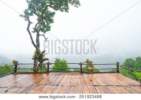 Patio And Chair Wood Mountain View In Asia, Doi Luang Chiang Dao Chiang Mai Thailand After Rain, The