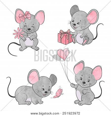 Set of cute little cartoon mice. Vector mouse collection. poster