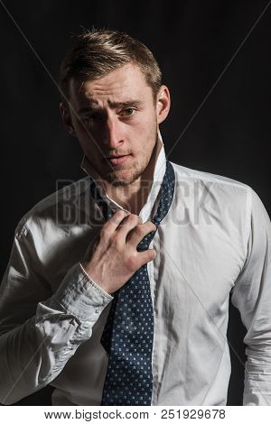 Caucasian Concept. Caucasian Man With Serious Face. Caucasian Man Wear Shirt With Tie. Handsome Cauc