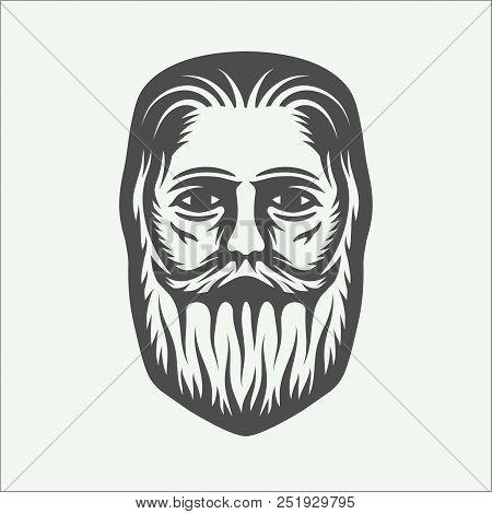 Vintage beardman lumberjack in retro style. Monochrome Graphic Art. Vector Illustration poster