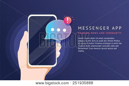 Mobile Messenger App For Texting Messages To Friends. Concept Flat Neon Vector Illustration Of Human