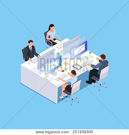 Isometric Office. Employees At The Workplace Work For Computers. 3d Business Concept Of Office Life.