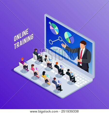 Isometric Concept Online Training. 3d Training With People On Laptop. People At Business Training. V