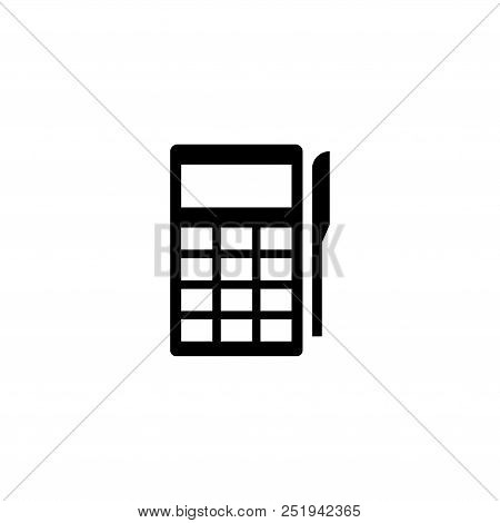 Pos Terminal Payment. Flat Vector Icon Illustration. Simple Black Symbol On White Background. Pos Te