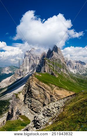 Gruppo Delle Odle, View From Seceda. Puez Odle Massif In Dolomites Mountains, Italy, South Tyrol Alp