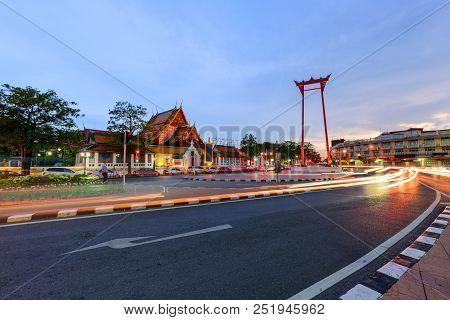 Giant Swing Landmark Of Bangkok City With Lighting Of Car Passed / Sao Ching Cha Landmark In Bangkok