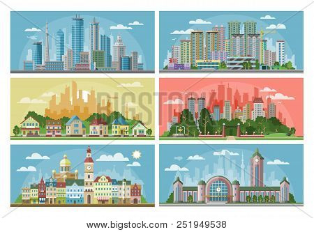 Cityscape Vector City Landscape With Urban Architecture Building Or Construction And Houses In The T