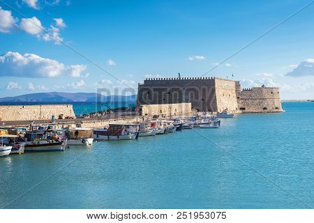 Boats In Old Venetian Harbour In Summer Sunny Day, Heraklion, Greece