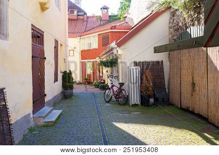 Cozy Courtyard In The Streets Of The Old Tallinn