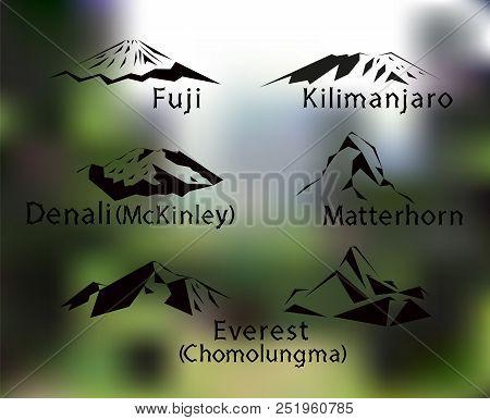 Blurred Background With Set Of Five Mountains Peaks Of World. Matterhorn. Kilimanjaro. Fuji. Denali.