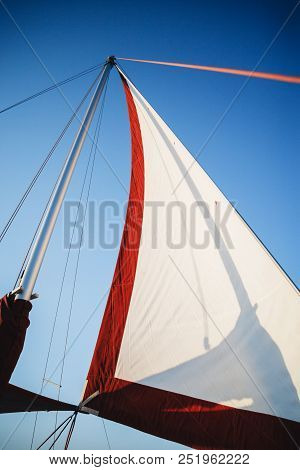 Top Of The Sailboat, Mast Head, Sail And Nautical Rope Yacht Detail. Yachting, Marine Background