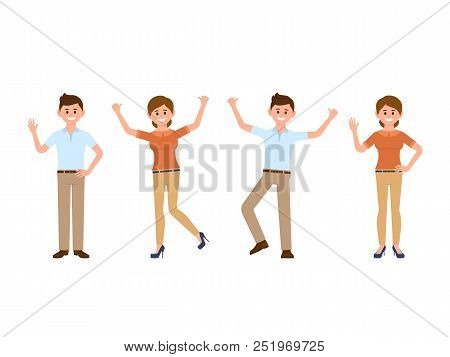 Very Happy Business Man And Woman Cartoon Character. Smiling Male And Female Clerk In Different Pose