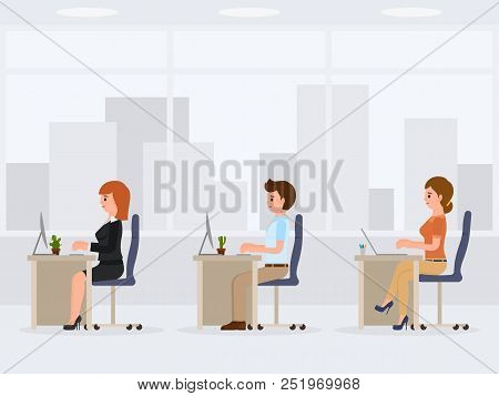 Male And Female Office Workers At The Desk. Young Working Clerks Cartoon Character