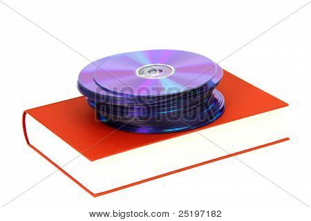 book with stack of DVDs on white poster