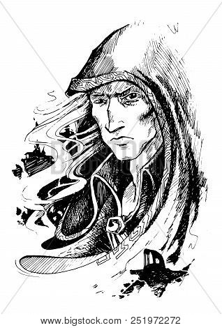 The Serious Mystical Wizard With A White Hear In A Hood Severely Looks At You, Having Blinked A Look