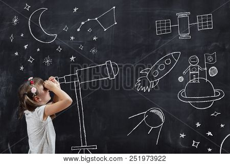 Schoolgirl Standing In Front Of A Blackboard, Watching Stars Through A Chalk-drawn Telescope, Learni