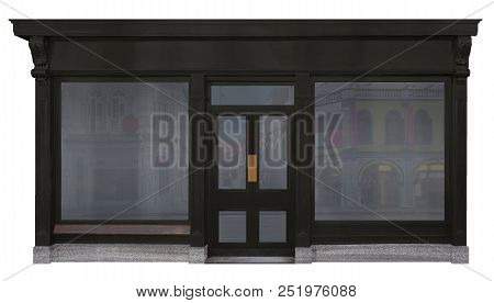 Storefront Framed With Black Wood And Cut Out On White Background