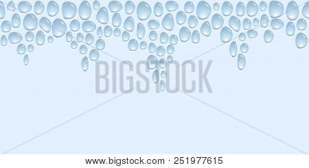 Horizontal Top Decoration With Water Drops, Steamy Surface, Background With Blue Water Spots, Vector