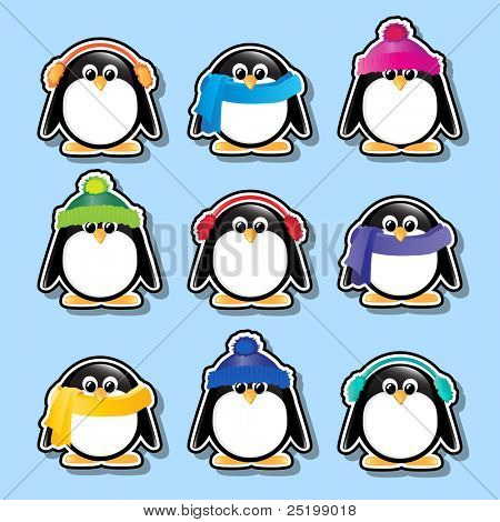 Winter cartoon penguin stickers. Also available in vector format.
