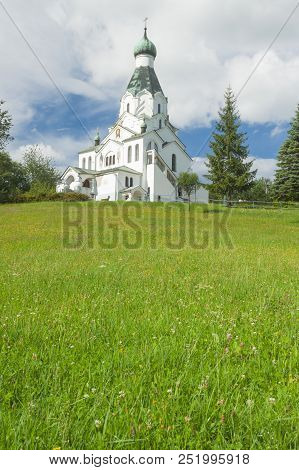 Slovakia, Prešovský Kraj, Medzilaborce, Orthodox St Spirit Church Sunlit, Summer