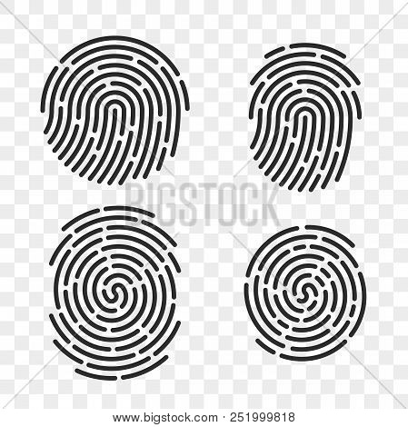 Fingerprint Vector Logo Or Finger Print Scan For Id Security Access Icon. Thin Line Art Design