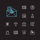Legal icons set. Fingerprint and legal icons with corrupt, penalty and labor. Set of professional for web app logo UI design. poster