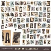 "vector set: alphabet based on vintage newspaper cutouts - ideal for your threatening letters, ransom notes or similar ... ""projects"" (all letters are grouped and highly detailed/textured) poster"