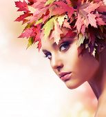 Autumn Woman. Beautiful creative makeup poster