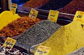 A selection fo beautiful natural spices from the spice bazaar in Istanbul Turkey. poster