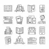 Line Art book icons. Literary magazines, study diary and bible textbooks bookstore symbols. Open page textbook, ebook and audio encyclopedia books thin library outline icon vector isolated set poster