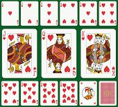 Heart suit. Jack, Queen and King double sized. Green background in a separate level. poster