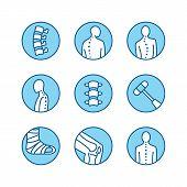 Spine, backbone line icons. Orthopedics clinic, medical rehab, back trauma, broken bone, posture correction scoliosis. Health care hospital circle signs, logo. poster