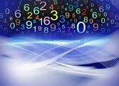 numbers on colorful abstract wavy background composite poster