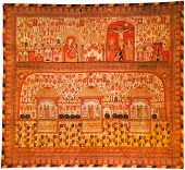 Red curtain from a armenians monastery of holy Etchmiadzin; Armenia; 1689 year. poster