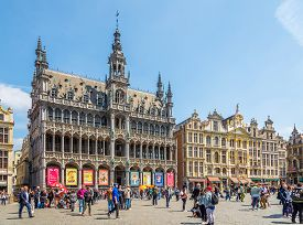 Brussels,belgium - May 18,2018 - Building Of Town Museum And Houses At The Grote Markt In Brussels.