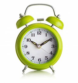 Green Old Fashioned Alarm-clock On White Background