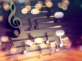 3d Illustration Of Musical Notes And Musical Signs Of Abstract Music Sheet.songs And Melody Concept.