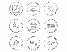 Monitor, Printer And Wi-fi Router Icons. Video Chat, Electric Plug And Pc Mouse Linear Signs. Projec