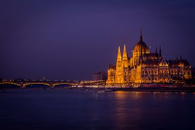 Budapest, Hungarian Parliament Building By Night, The Seat Of The National Assembly Of Hungary