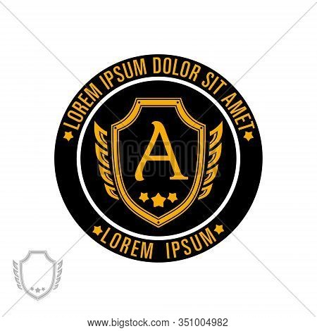 Logo Template With Shield And Wings In A Circle, Suitable For Security Company, Security Service, Bo