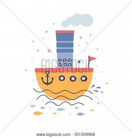 Yellow Cartoon Steamer Flat Vector Illustration. Children`s Toy Boat On The Waves. Old-fashioned Sea