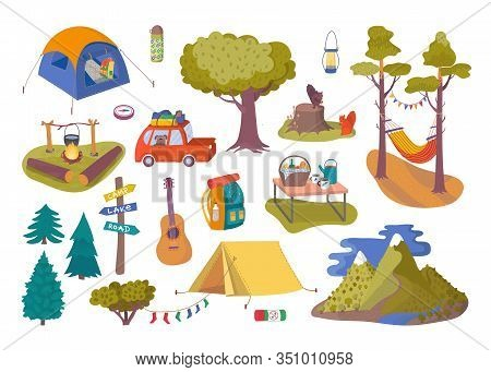 Forest Picnic And Camping Collection Set For Trip Vector Illustration. Hiking And Trip Of Camping Wi